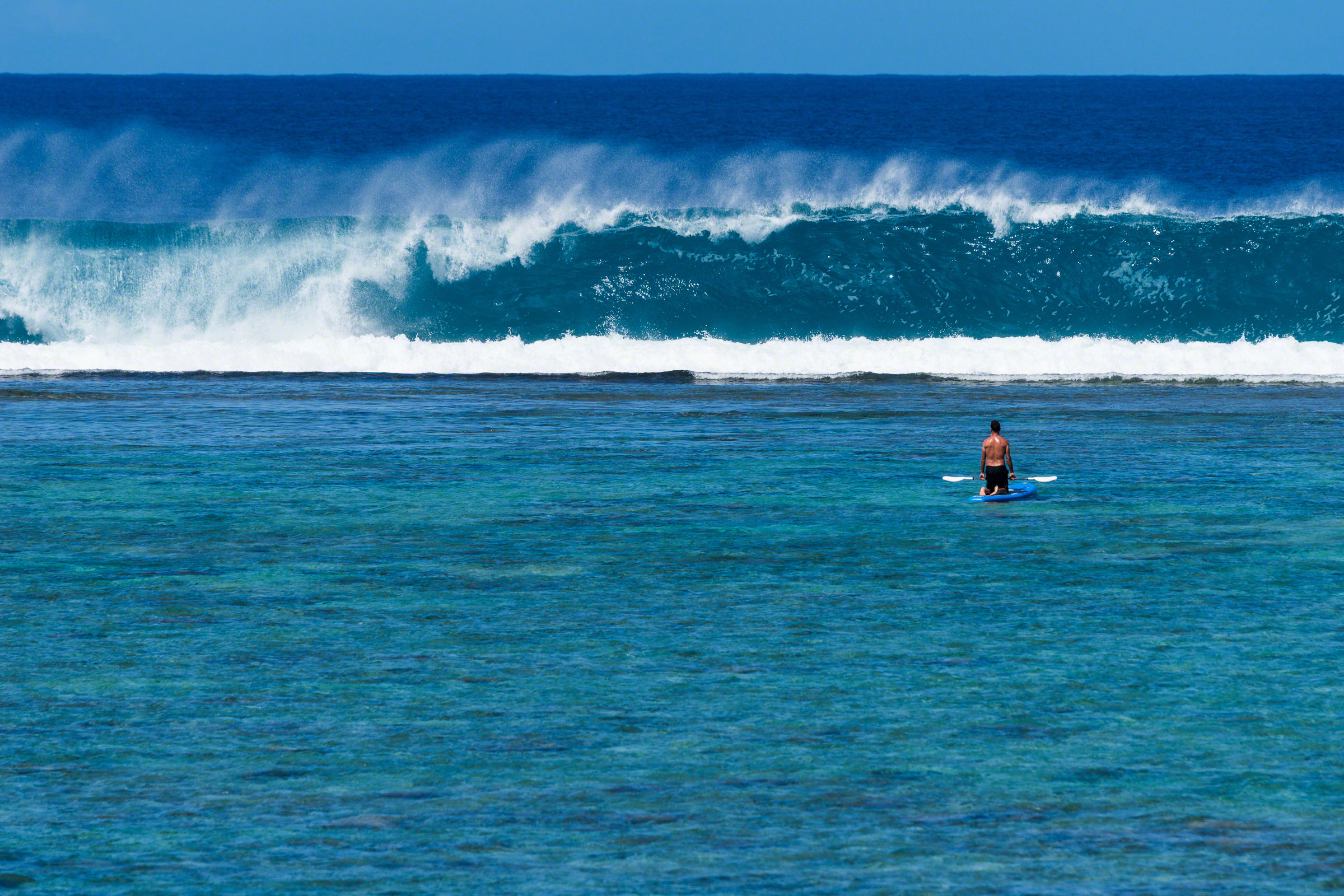 Paddle Boarder Watching Waves